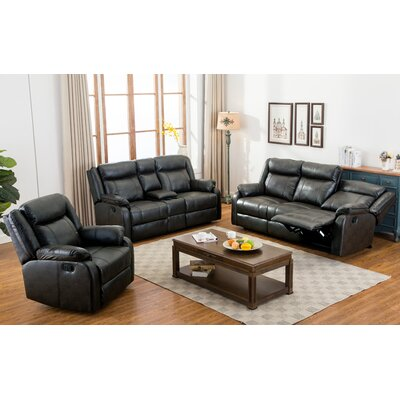 Novia 3 Piece Living Room Set Upholstery: Black