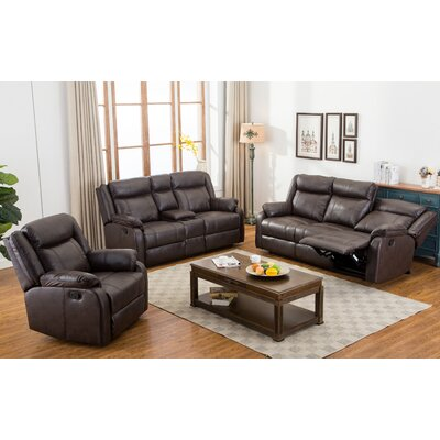Novia 3 Piece Living Room Set Upholstery: Brown