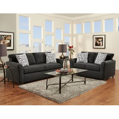 Mazemic Sofa and Loveseat Set Upholstery: Midnight Black