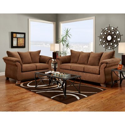 Norris Sofa and Loveseat Set Upholstery: Chocolate