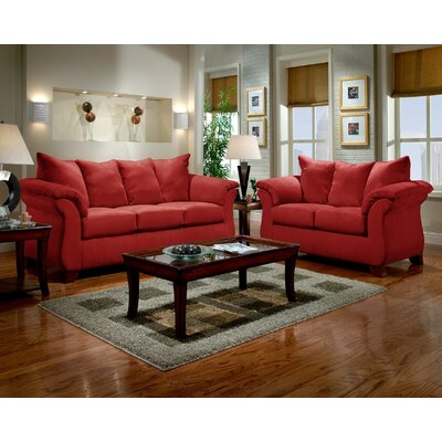 Norris 2 Piece Living Room Set Upholstery: Red