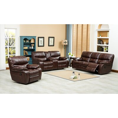 Ewa 3 Piece Leather Living Room Set Upholstery: Brown