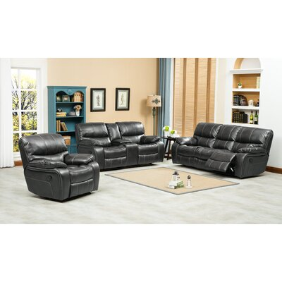Ewa 3 Piece Leather Living Room Set Upholstery: Gray