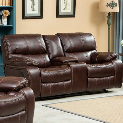 Ewa Double Reclining Loveseat Upholstery: Brown