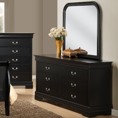 Isony 594 Louis Philippe 6 Drawers Double Dresser with Mirror