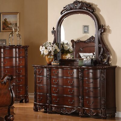 Saillans Solid Wood 12 Drawers Standard Dresser with Mirror