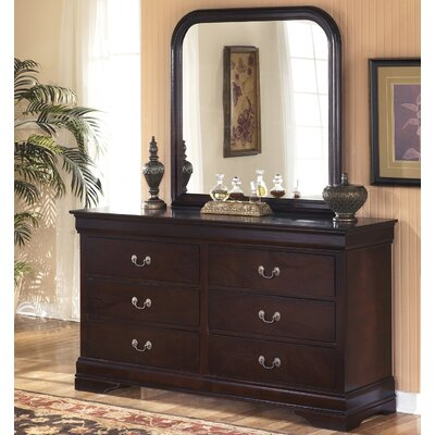 Isola Louis Philippe 6 Drawers Double Dresser with Mirror