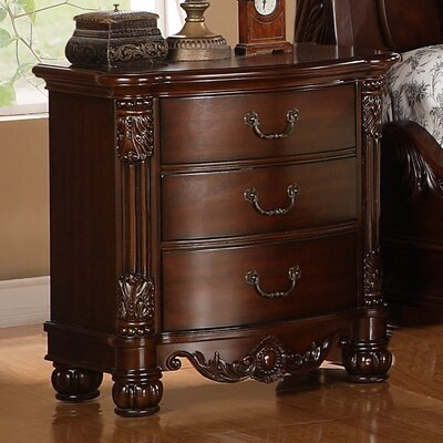 Saillans Solid Wood 3 Drawer Nightstand