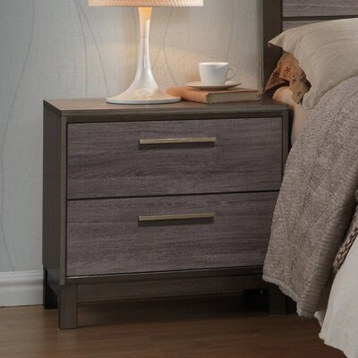 Mandy Wood 2 Drawer Nightstand