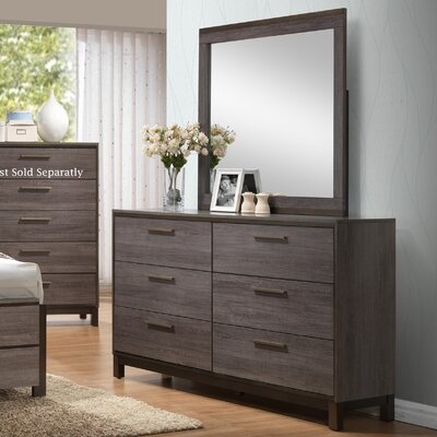 Mandy 6 Drawer Double Dresser with Mirror