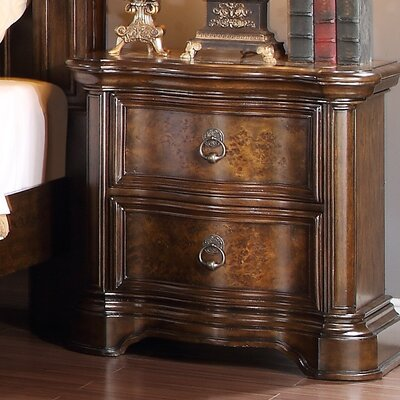 Boulogne Wood 2 Drawer Nightstand