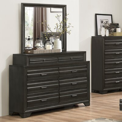 Loiret Wood 8 Drawer Dresser with Mirror