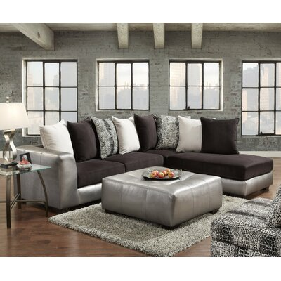 Shimmer Sectional with Ottoman Upholstery: Silver Microfiber