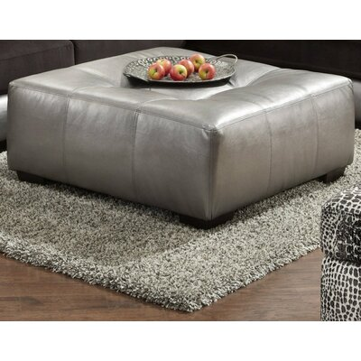Shimmer Cocktail Ottoman Upholstery: Silver Microfiber