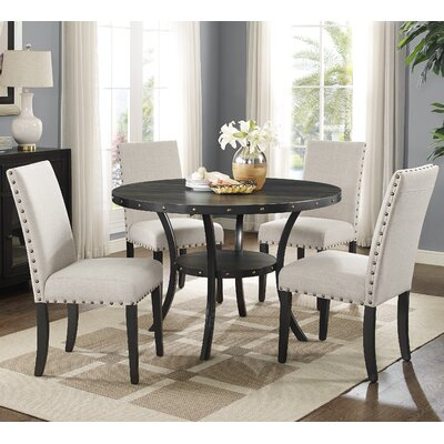 Biony Espresso Wood 5 Piece Dining Set Upholstery Color: Tan