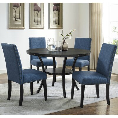 Amy Espresso 5 Piece Dining Set Upholstery: Blue