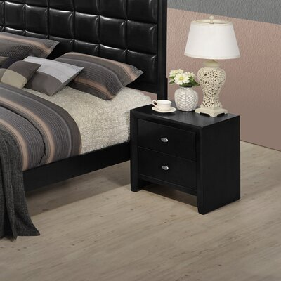 Gloria 2 Drawer Nightstand Color: Black