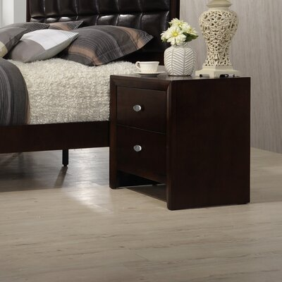 Gloria 2 Drawer Nightstand Color: Brown Cherry