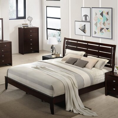 Gloria Wood Panel Bed Size: Queen, Color: Black