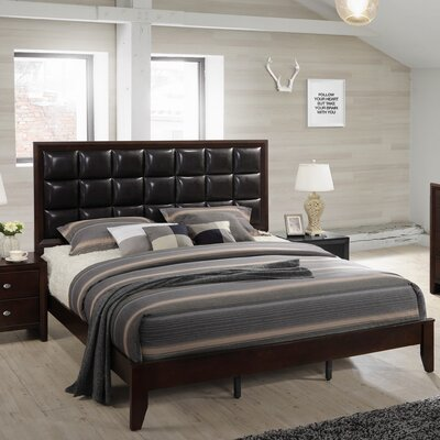 Gloria Wood Panel Bed Size: King, Color: Black