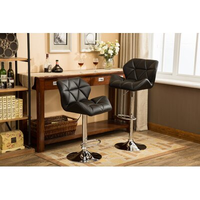 Alkire Hydraulic Adjustable Height Swivel Bar Stool Upholstery: Black