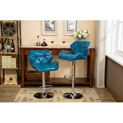 Alkire Hydraulic Adjustable Height Swivel Bar Stool Upholstery: Blue