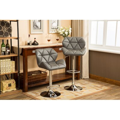 Alkire Hydraulic Adjustable Height Swivel Bar Stool Upholstery: Gray
