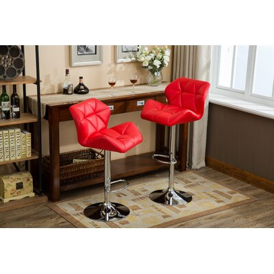 Marceline Hydraulic Adjustable Height Swivel Bar Stool Upholstery: Red