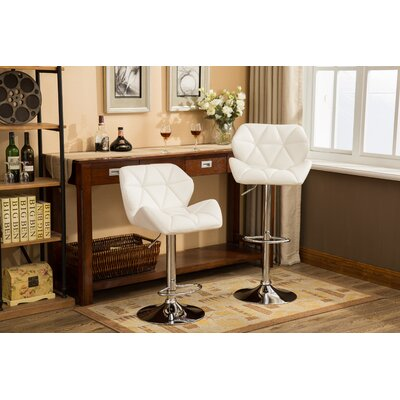 Alkire Hydraulic Adjustable Height Swivel Bar Stool Upholstery: White