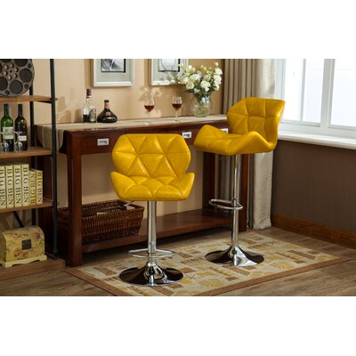 Alkire Hydraulic Adjustable Height Swivel Bar Stool Upholstery: Yellow
