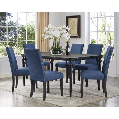 Amy Wood 7 Piece Dining Set Upholstery Color: Blue