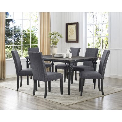 Raquel Wood Rectangle 7 Piece Dining Set with Fabric Nailhead Chairs Upholstery Color: Gray