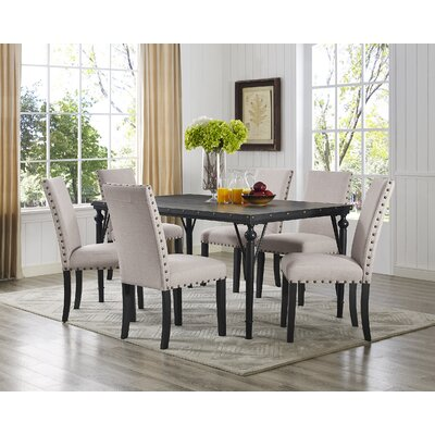 Raquel Wood Rectangle 7 Piece Dining Set with Fabric Nailhead Chairs Upholstery Color: Tan