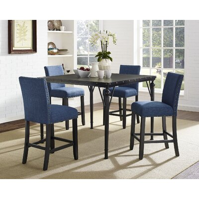 Raquel Wood Counter Height 5 Piece Dining Set with Fabric Nailhead Chairs Upholstery Color: Blue