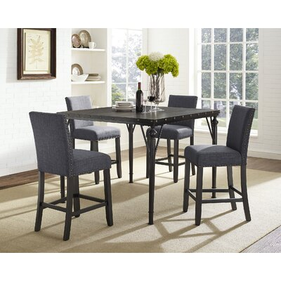 Amy Wood Counter Height 5 Piece Dining Set with Fabric Nailhead Chairs Upholstery Color: Gray