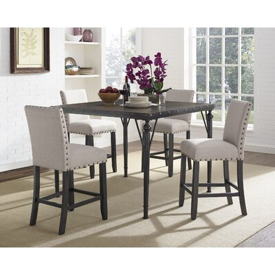 Amy Wood Counter Height 5 Piece Dining Set with Fabric Nailhead Chairs Upholstery Color: Tan
