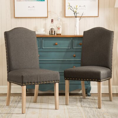 Mod Urban Style Solid Wood Nailhead Fabric Padded Parson Chair Upholstery: Charcoal