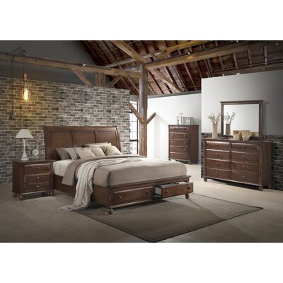 Lehigh Storage Panel 5 Piece Solid Wood Bedroom Set Size: Queen
