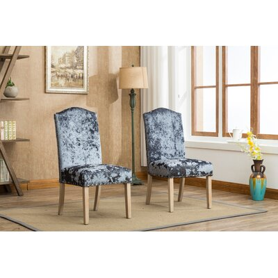 Wokefield Velvet Caen Nail Head Urban Ice Fabric Padded Parson Upholstered Dining Chair Upholstery Color: Charcoal