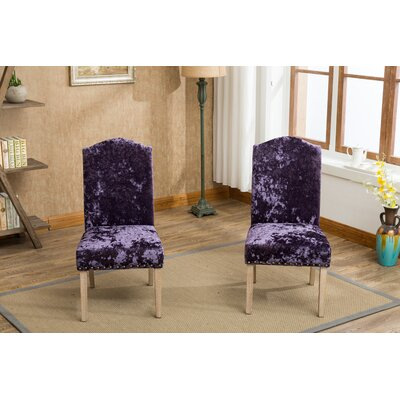 Wokefield Velvet Caen Nail Head Urban Ice Fabric Padded Parson Upholstered Dining Chair Upholstery Color: Purple