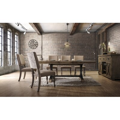 Dasher 7-Piece Removable Leaf Table with Nail Head Chair Dining Set, Driftwood