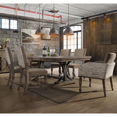 Dasher 7-Piece Butterfly Leaf Table with Nail Head Arm Chairs Dining Set
