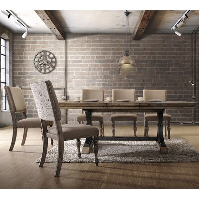 Dasher 7-Piece Butterfly Leaf Table with Nail Head Chair Dining Set, Driftwood