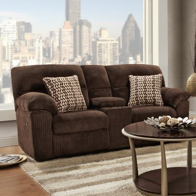 Litherland Reclining Loveseat with Console Upholstery: Brown
