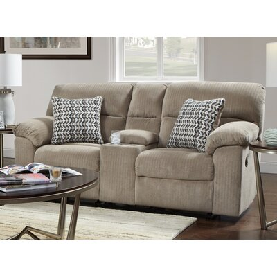 Litherland Reclining Loveseat with Console Upholstery: Taupe