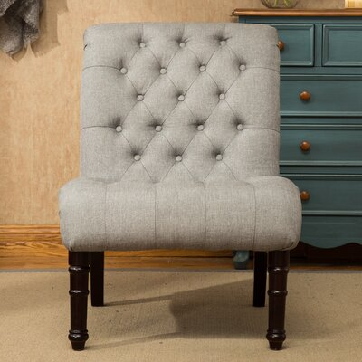 Lambrecht Rolled Back Button Tufting Armless Slipper Chair Upholstery: Gray