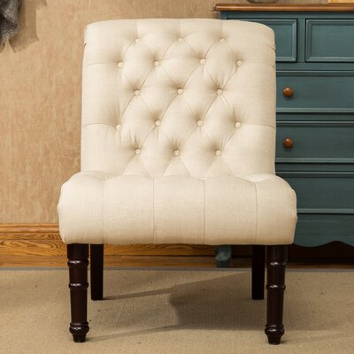Lambrecht Rolled Back Button Tufting Armless Slipper Chair Upholstery Color: Tan