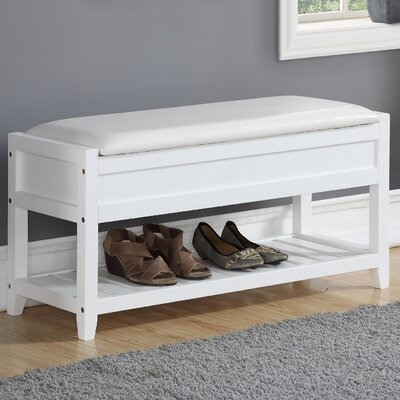 Lambrecht Seating Bench with Shoe Storage Color: White