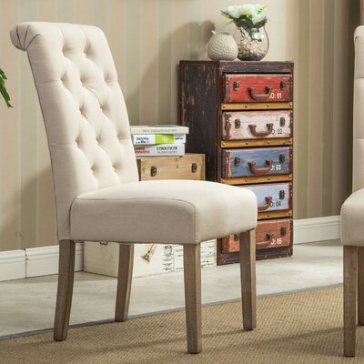 Sabanc Solid Wood Button Tufted Side Chair Upholstery: Tan