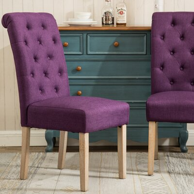Kenleigh Solid Wood Button Tufted Side Chair Upholstery: Purple
